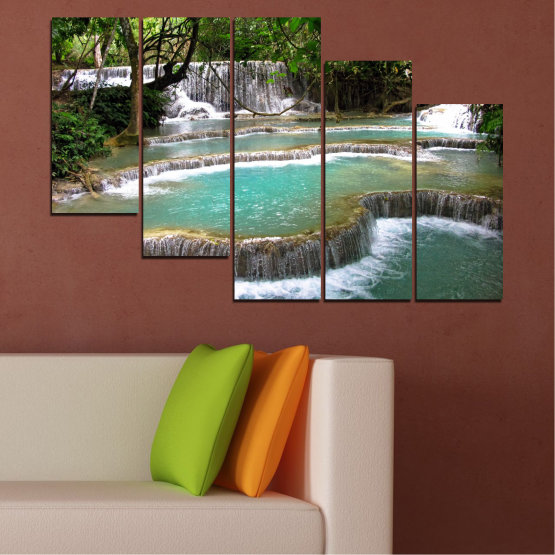 Canvas prints & wall decorative panels - 5 pieces №0518 » Green, Black, Gray, White, Dark grey » Nature, Landscape, Water, Waterfall, Forest Form #7