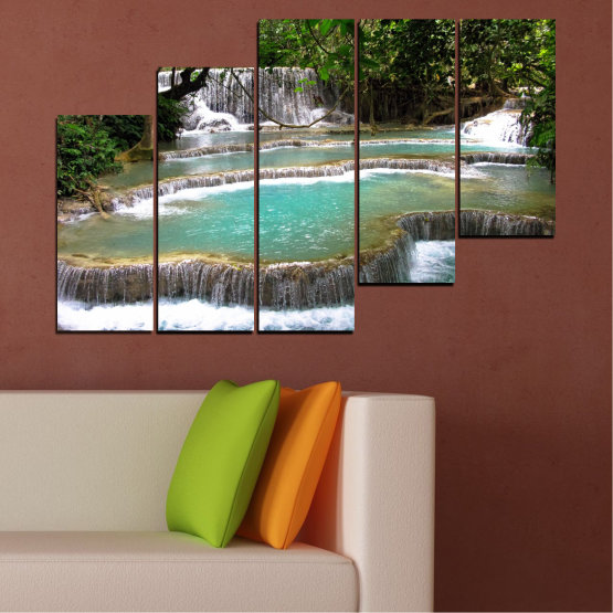 Canvas prints & wall decorative panels - 5 pieces №0518 » Green, Black, Gray, White, Dark grey » Nature, Landscape, Water, Waterfall, Forest Form #8
