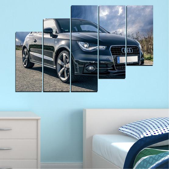 Декоративни панели и картини от канава - от 5 части №0519 » Черен, Сив, Тъмно сив » Кола, Превозно средство, Път Form #8