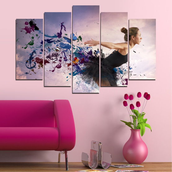 Canvas prints & wall decorative panels - 5 pieces №0052 » Purple, Gray, White, Dark grey » Collage, Woman, Art, Butterfly Form #1