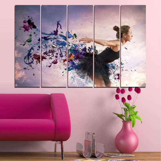 Canvas prints & wall decorative panels - 5 pieces №0052 » Purple, Gray, White, Dark grey » Collage, Woman, Art, Butterfly Form #2