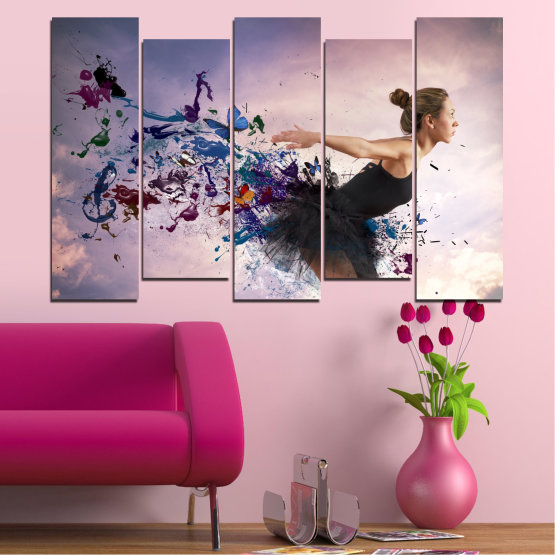 Canvas prints & wall decorative panels - 5 pieces №0052 » Purple, Gray, White, Dark grey » Collage, Woman, Art, Butterfly Form #3
