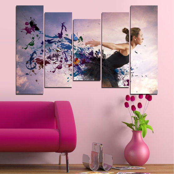 Canvas prints & wall decorative panels - 5 pieces №0052 » Purple, Gray, White, Dark grey » Collage, Woman, Art, Butterfly Form #4