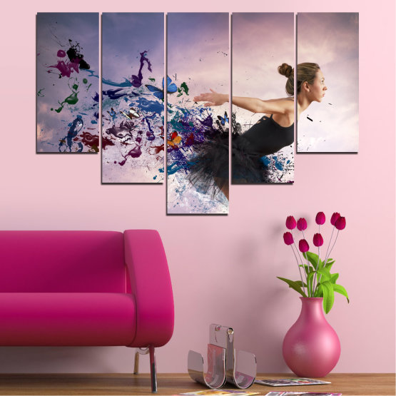 Canvas prints & wall decorative panels - 5 pieces №0052 » Purple, Gray, White, Dark grey » Collage, Woman, Art, Butterfly Form #6