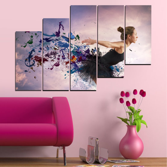Canvas prints & wall decorative panels - 5 pieces №0052 » Purple, Gray, White, Dark grey » Collage, Woman, Art, Butterfly Form #8