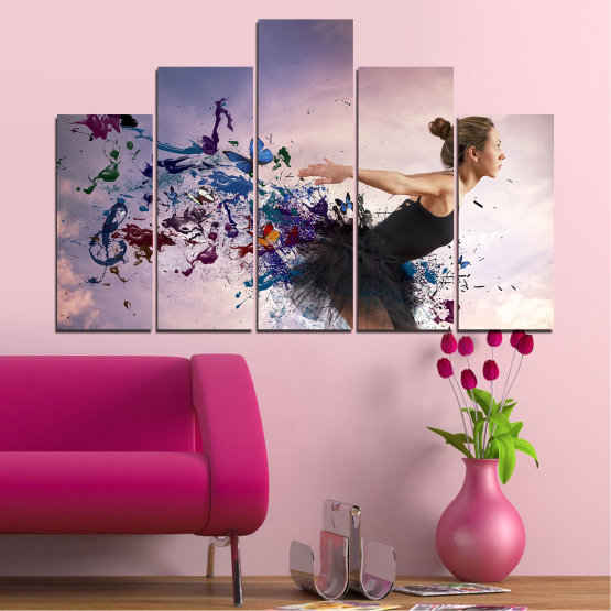 Canvas prints & wall decorative panels - 5 pieces №0052 » Purple, Gray, White, Dark grey » Collage, Woman, Art, Butterfly Form #5