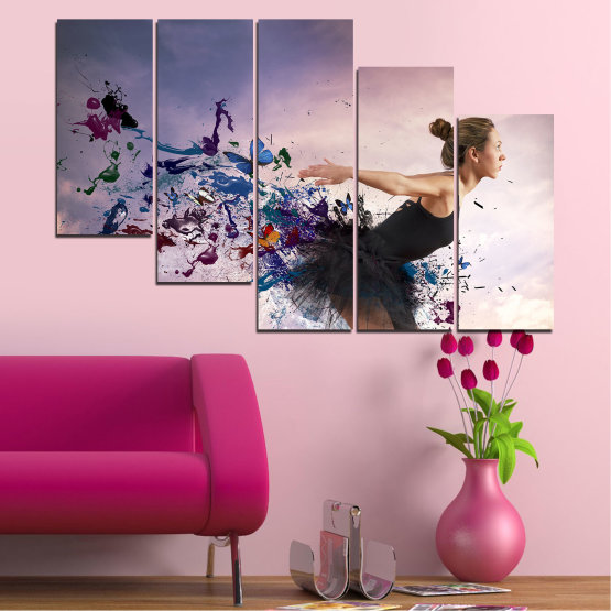 Canvas prints & wall decorative panels - 5 pieces №0052 » Purple, Gray, White, Dark grey » Collage, Woman, Art, Butterfly Form #7