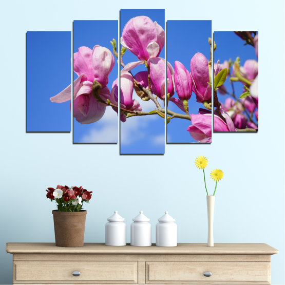 Canvas prints & wall decorative panels - 5 pieces №0520 » Purple, Blue, Turquoise, Gray, Milky pink » Nature, Flowers, Tree Form #1