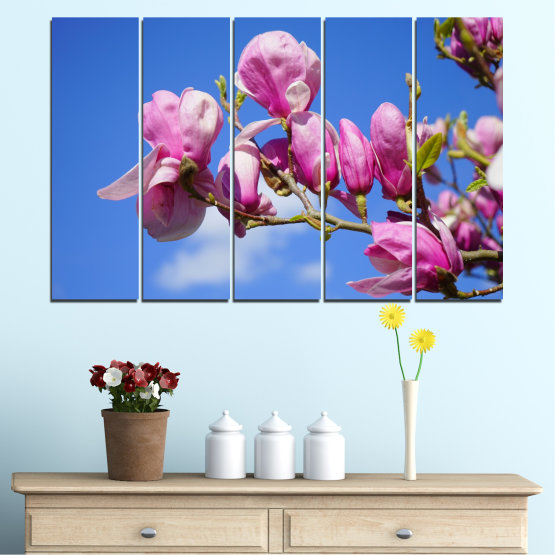 Canvas prints & wall decorative panels - 5 pieces №0520 » Purple, Blue, Turquoise, Gray, Milky pink » Nature, Flowers, Tree Form #2