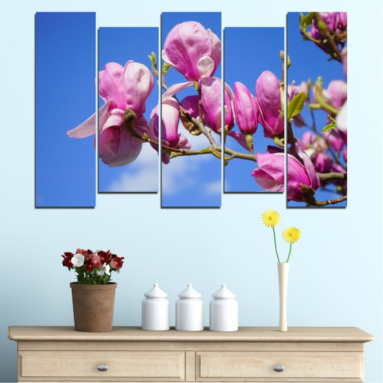 Декоративни панели и картини от канава - от 5 части №0520 » Лилав, Син, Тюркоаз, Сив, Млечно розов » Цветя, Природа, Дърво Form #3