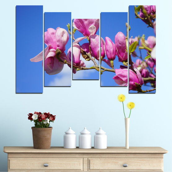 Canvas prints & wall decorative panels - 5 pieces №0520 » Purple, Blue, Turquoise, Gray, Milky pink » Nature, Flowers, Tree Form #4