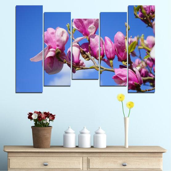 Декоративни панели и картини от канава - от 5 части №0520 » Лилав, Син, Тюркоаз, Сив, Млечно розов » Цветя, Природа, Дърво Form #4