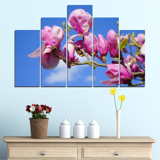 Декоративни панели и картини от канава - от 5 части №0520 » Лилав, Син, Тюркоаз, Сив, Млечно розов » Цветя, Природа, Дърво Form #5