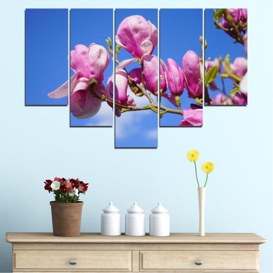 Декоративни панели и картини от канава - от 5 части №0520 » Лилав, Син, Тюркоаз, Сив, Млечно розов » Цветя, Природа, Дърво Form #6