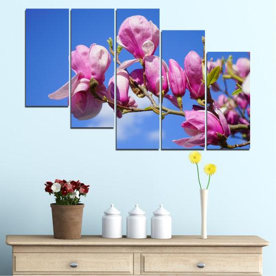 Декоративни панели и картини от канава - от 5 части №0520 » Лилав, Син, Тюркоаз, Сив, Млечно розов » Цветя, Природа, Дърво Form #7