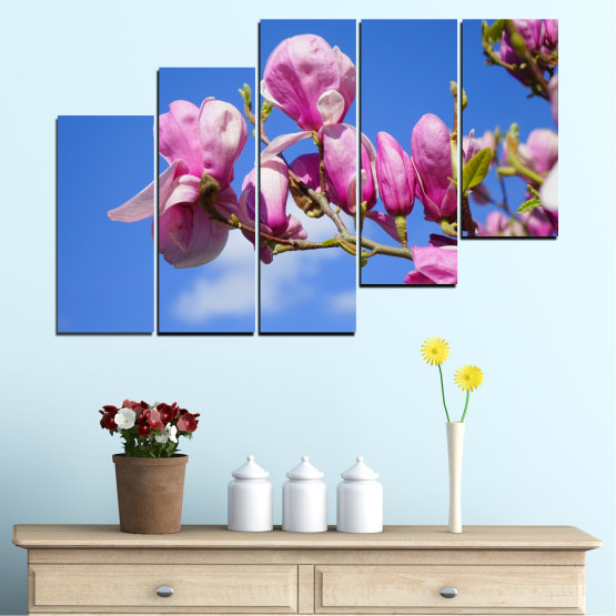 Canvas prints & wall decorative panels - 5 pieces №0520 » Purple, Blue, Turquoise, Gray, Milky pink » Nature, Flowers, Tree Form #8