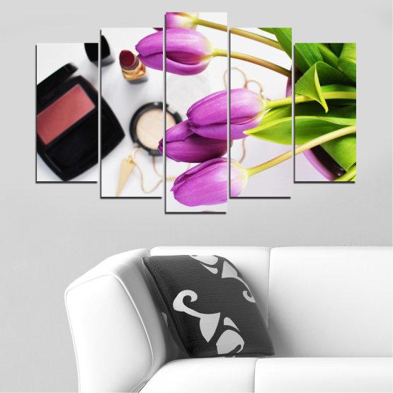 Εκτύπωση σε καμβά και διακοσμητικά πάνελ τοίχου - 5 τεμάχια №0521 » Μωβ, Μαύρος, Γκρί, Άσπρο, Μπεζ » Λουλούδια, Μόδα, Τουλίπα, Μακιγιάζ Form #1