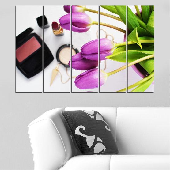Εκτύπωση σε καμβά και διακοσμητικά πάνελ τοίχου - 5 τεμάχια №0521 » Μωβ, Μαύρος, Γκρί, Άσπρο, Μπεζ » Λουλούδια, Μόδα, Τουλίπα, Μακιγιάζ Form #2