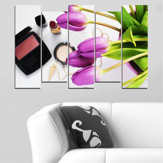 Εκτύπωση σε καμβά και διακοσμητικά πάνελ τοίχου - 5 τεμάχια №0521 » Μωβ, Μαύρος, Γκρί, Άσπρο, Μπεζ » Λουλούδια, Μόδα, Τουλίπα, Μακιγιάζ Form #3