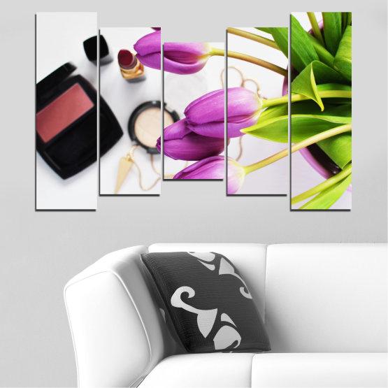 Εκτύπωση σε καμβά και διακοσμητικά πάνελ τοίχου - 5 τεμάχια №0521 » Μωβ, Μαύρος, Γκρί, Άσπρο, Μπεζ » Λουλούδια, Μόδα, Τουλίπα, Μακιγιάζ Form #4