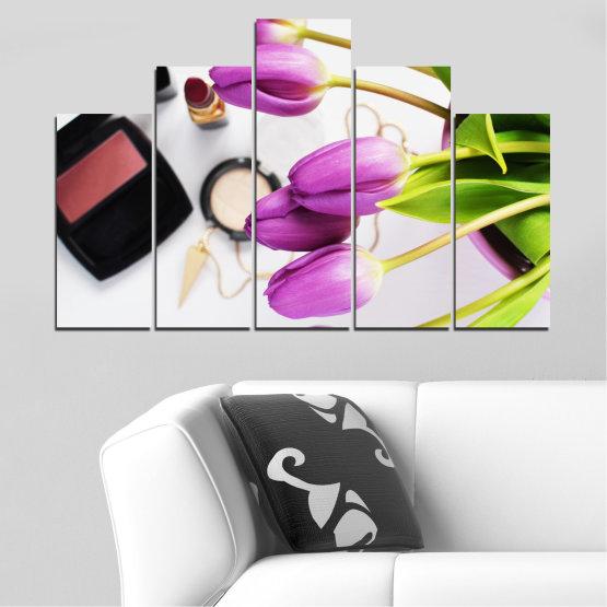 Εκτύπωση σε καμβά και διακοσμητικά πάνελ τοίχου - 5 τεμάχια №0521 » Μωβ, Μαύρος, Γκρί, Άσπρο, Μπεζ » Λουλούδια, Μόδα, Τουλίπα, Μακιγιάζ Form #5