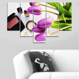 Декоративни панели и картини от канава - от 5 части №0521 Цветя 6-та Форма
