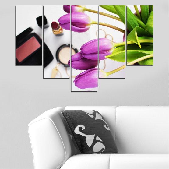 Εκτύπωση σε καμβά και διακοσμητικά πάνελ τοίχου - 5 τεμάχια №0521 » Μωβ, Μαύρος, Γκρί, Άσπρο, Μπεζ » Λουλούδια, Μόδα, Τουλίπα, Μακιγιάζ Form #6