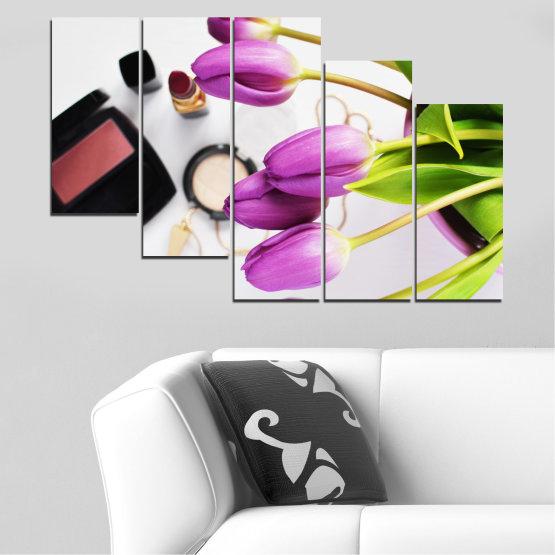 Εκτύπωση σε καμβά και διακοσμητικά πάνελ τοίχου - 5 τεμάχια №0521 » Μωβ, Μαύρος, Γκρί, Άσπρο, Μπεζ » Λουλούδια, Μόδα, Τουλίπα, Μακιγιάζ Form #7