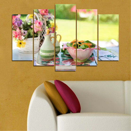 Canvas prints & wall decorative panels - 5 pieces №0522 » Brown, Gray, Beige » Flowers, Culinary, Fresh Form #1