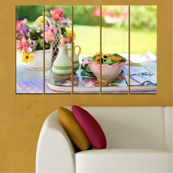 Εκτύπωση σε καμβά και διακοσμητικά πάνελ τοίχου - 5 τεμάχια №0522 » Καστανός, Γκρί, Μπεζ » Λουλούδια, Μαγειρικός, Φρέσκο Form #2