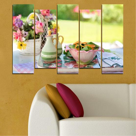 Εκτύπωση σε καμβά και διακοσμητικά πάνελ τοίχου - 5 τεμάχια №0522 » Καστανός, Γκρί, Μπεζ » Λουλούδια, Μαγειρικός, Φρέσκο Form #3