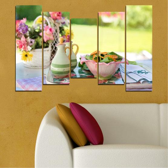 Εκτύπωση σε καμβά και διακοσμητικά πάνελ τοίχου - 5 τεμάχια №0522 » Καστανός, Γκρί, Μπεζ » Λουλούδια, Μαγειρικός, Φρέσκο Form #4