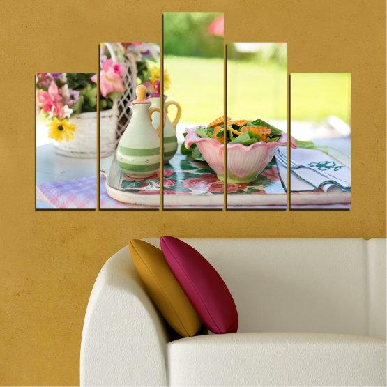 Εκτύπωση σε καμβά και διακοσμητικά πάνελ τοίχου - 5 τεμάχια №0522 » Καστανός, Γκρί, Μπεζ » Λουλούδια, Μαγειρικός, Φρέσκο Form #5
