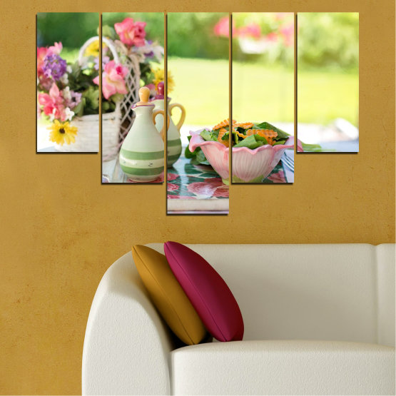 Canvas prints & wall decorative panels - 5 pieces №0522 » Brown, Gray, Beige » Flowers, Culinary, Fresh Form #6