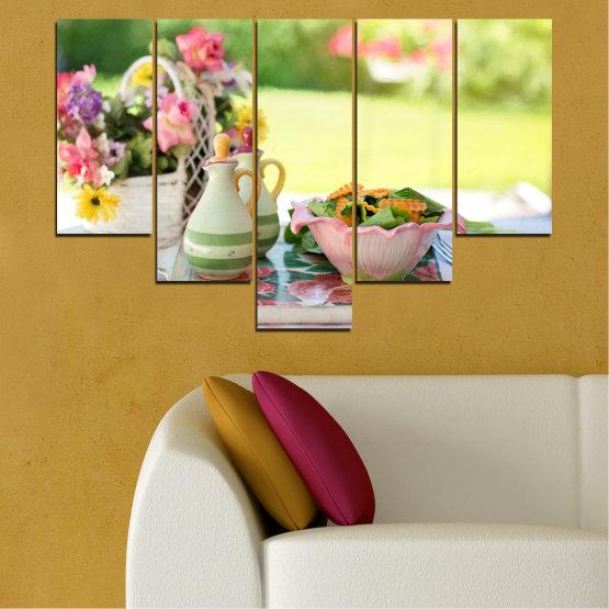 Εκτύπωση σε καμβά και διακοσμητικά πάνελ τοίχου - 5 τεμάχια №0522 » Καστανός, Γκρί, Μπεζ » Λουλούδια, Μαγειρικός, Φρέσκο Form #6