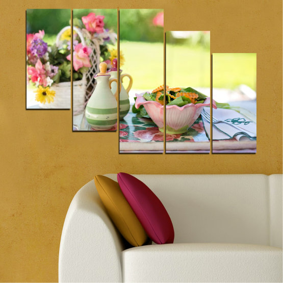 Canvas prints & wall decorative panels - 5 pieces №0522 » Brown, Gray, Beige » Flowers, Culinary, Fresh Form #7