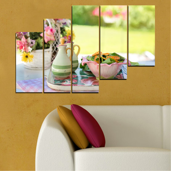 Canvas prints & wall decorative panels - 5 pieces №0522 » Brown, Gray, Beige » Flowers, Culinary, Fresh Form #8