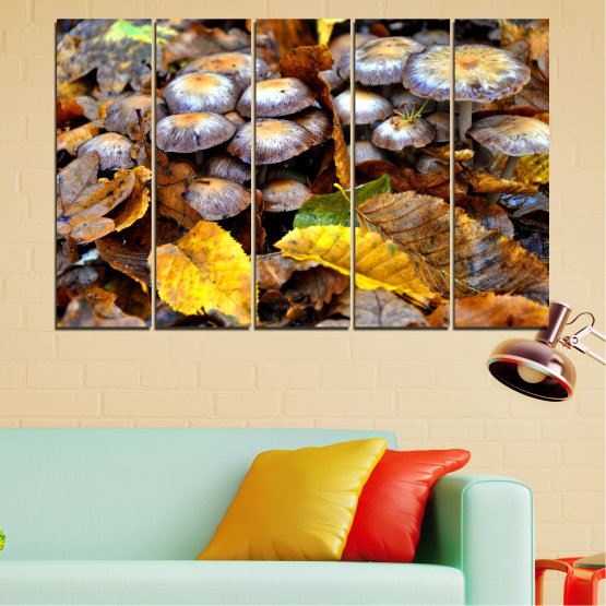 Canvas prints & wall decorative panels - 5 pieces №0523 » Brown, Black, Gray, Dark grey » Nature, Autumn, Mushrooms Form #2