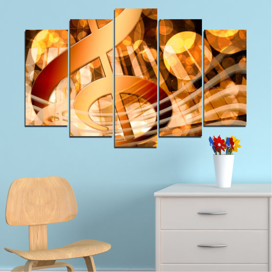 Canvas prints & wall decorative panels - 5 pieces №0524 » Yellow, Orange, Brown, Beige » Abstraction, Music, Piano Form #1