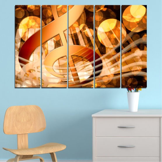 Canvas prints & wall decorative panels - 5 pieces №0524 » Yellow, Orange, Brown, Beige » Abstraction, Music, Piano Form #2