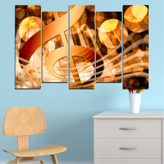 Canvas prints & wall decorative panels - 5 pieces №0524 » Yellow, Orange, Brown, Beige » Abstraction, Music, Piano Form #3