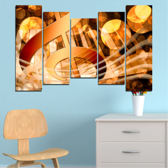Canvas prints & wall decorative panels - 5 pieces №0524 » Yellow, Orange, Brown, Beige » Abstraction, Music, Piano Form #4
