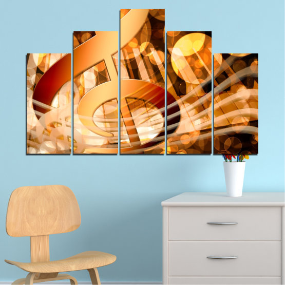 Canvas prints & wall decorative panels - 5 pieces №0524 » Yellow, Orange, Brown, Beige » Abstraction, Music, Piano Form #5