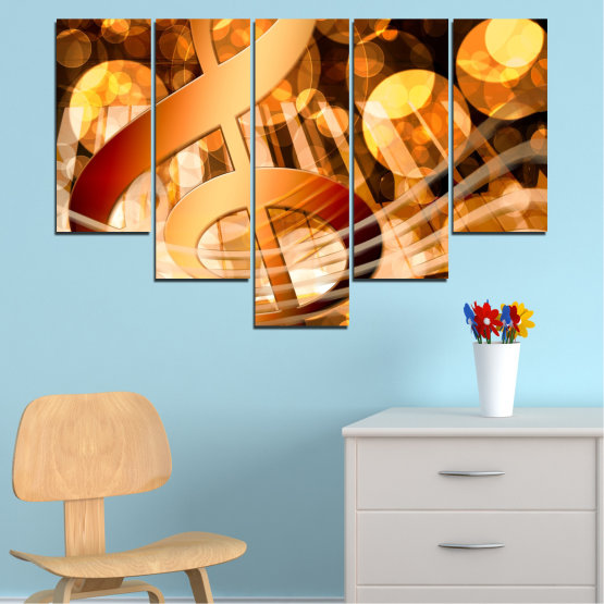 Canvas prints & wall decorative panels - 5 pieces №0524 » Yellow, Orange, Brown, Beige » Abstraction, Music, Piano Form #6