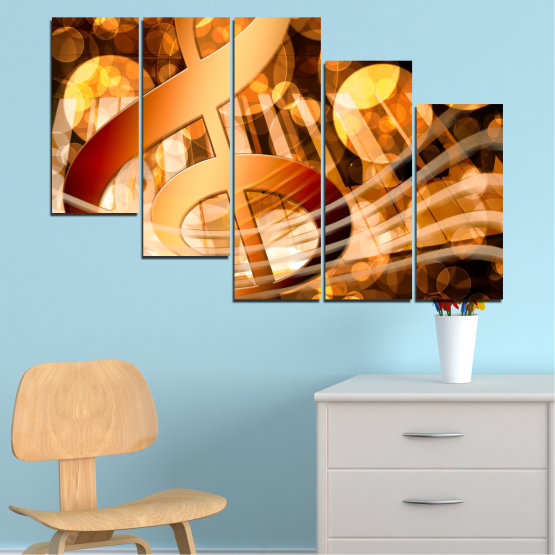 Canvas prints & wall decorative panels - 5 pieces №0524 » Yellow, Orange, Brown, Beige » Abstraction, Music, Piano Form #7