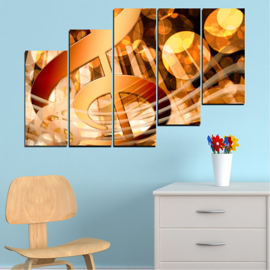 Canvas prints & wall decorative panels - 5 pieces №0524 » Yellow, Orange, Brown, Beige » Abstraction, Music, Piano Form #8
