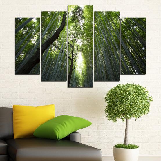 Декоративни панели и картини от канава - от 5 части №0525 » Зелен, Черен » Природа, Пейзаж, Гора, Свежест Form #1