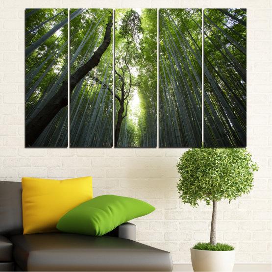 Декоративни панели и картини от канава - от 5 части №0525 » Зелен, Черен » Природа, Пейзаж, Гора, Свежест Form #2