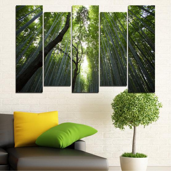 Canvas prints & wall decorative panels - 5 pieces №0525 » Green, Black » Nature, Landscape, Freshness, Forest Form #3