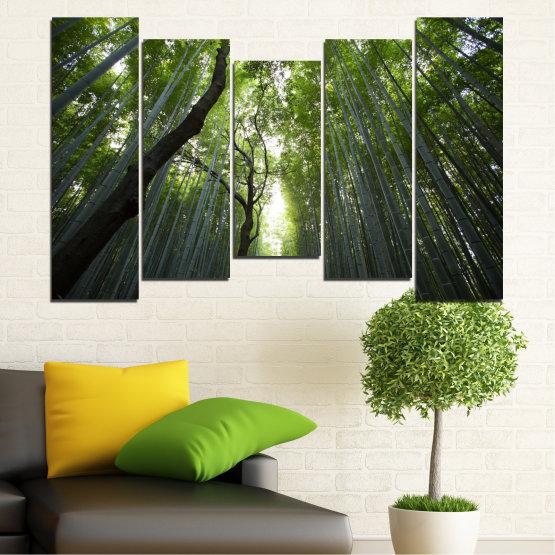 Декоративни панели и картини от канава - от 5 части №0525 » Зелен, Черен » Природа, Пейзаж, Гора, Свежест Form #4